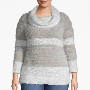 Lane Bryant fuzzy striped cowl-neck sweater!